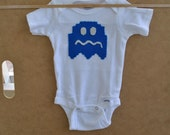 Dark blue Pac-man ghost, newborn baby onesie