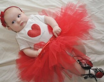 Beautiful red tutu and headband for baby or toddler - NB-24 months - Red tulle