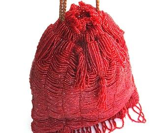 beautiful ruby red beaded bag    ...     vintage beaded purse