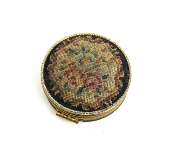reserved for barbara  ...   vintage petite schildkraut petit point compact