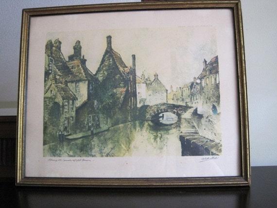 Along the Canals of Old Bruges - Framed Fine Art Print copyright 1935