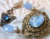 Ice Blue--Bracelet with Repurposed Art Glass Brooch & Vintage Findings