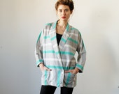 Vintage Oversized 80s Blazer Grey and Teal Stripe Small
