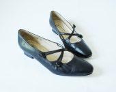Vintage Size 8 Etienne Aigner Mini Heels Navy Blue Leather