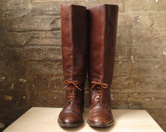 Riding Boots Size 8.5 Brown Leather Lace Up