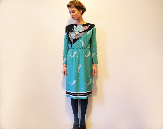 Vintage Teal Floral Long Sleeve Cocktail Dress Size Small