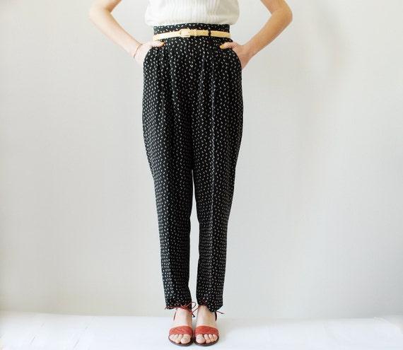 Vintage High Waisted Pants Black Speckled Size Medium