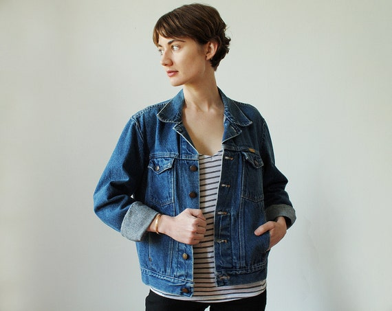 Vintage Denim Jean Jacket Size Medium By Rustler