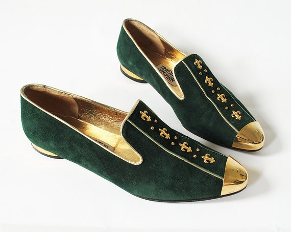 Vintage Suede Slipper Loafers Emerald Green and Gold 6.5