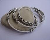 Set of 3   Summer Rockstar Leather Pewter Bangle Bracelets