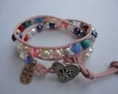 Sweetheart II Childs Pink Beaded Leather Wrap Bracelet