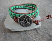 Santa Fe Turquoise Beaded Leather Wrap Bracelet