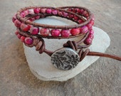 Camilla Red Jasper Beaded Leather Wrap Bracelet