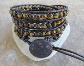 Chatoyant  Tiger Eye  Beaded Leather Wrap Bracelet