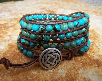 Celtic Knot Turquoise Beaded Leather Wrap Bracelet
