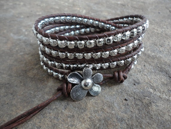 Flowerchild  Pewter Beaded Natural Leather Wrap Bracelet  Storewide SALE 20% off coupon code SALE20