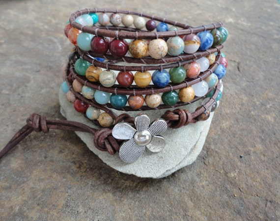 JustHipStuff Gemstone  Beaded Leather Wrap Bracelet Storewide SALE 10% off coupon code SALE10