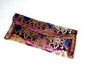 small purse, clutch, gold, metallic, jewel tones, sparkly, damask, purple, Asian, satin, girly, feminine, original, ooak