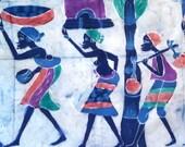 wall panel, fabric, art, bedding, textile, 52 by 33 inches, artwork, batik, Kenya, Africa, jewel tones, green, purple, women, trees, huts
