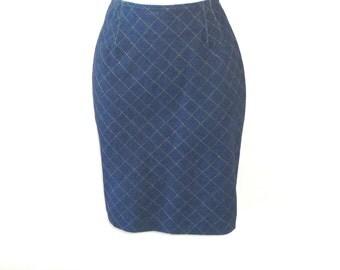 Emanuel Ungaro - Designer - Denim Skirt -Size 8 - Sz 42 - Recycled - UNIQUE - Faux Quilt - Paris - France - Voluptuous - Rockabilly