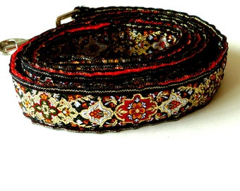 48 Inch- Dog Leash - Rich Brocade - Small Dog - Metallic Red Black Gold - Hand Made - Trefoil - Medieval - Wedding  - Renaissance Style