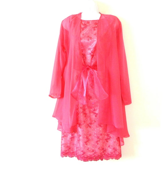 Dress jacket sheer rose fuchsia pink wedding guest for Dress and jacket for wedding guest