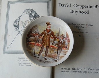 Vintage David Copperfield Dish and Charles Dickens Book Collectible Classic Literature Set.