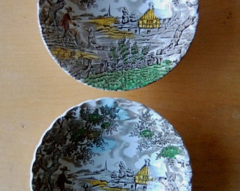 Vintage Pair of Ceramic Bowls with The Hunter Multi Color Transferware Scene Man with Dog.