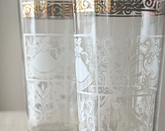 Vintage Pair Glasses Mid Century Gold and White Ornate Juice Drinking Glasses with Regency and Colonial Man and Woman.