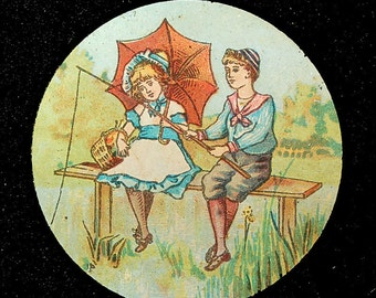 Antique Magic Lantern Slide with Scenes of Pastoral Victorian Children Playing Outdoors in Summer.