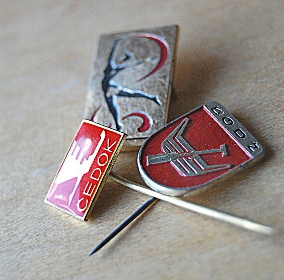 Instant Collection Vintage Modern Eastern Europe Graphic 1960s Cold War Sports Logo Pins.