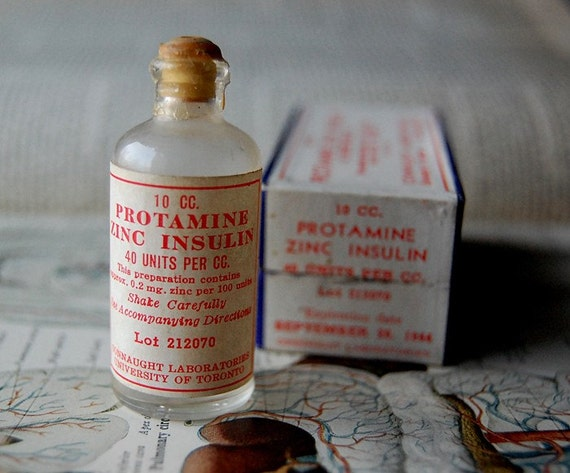 Vintage Miniature Medical Glass Insulin Bottle With Box