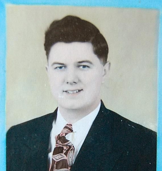 Vintage Suit Man Portrait Photograph Hand Colored 1950s.