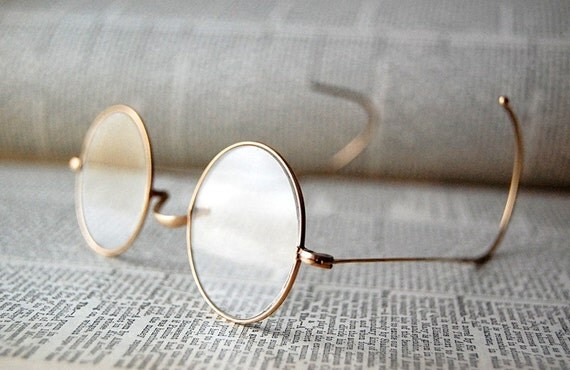 Antique Gold Rimmed Round Eyeglasses with Original Case.