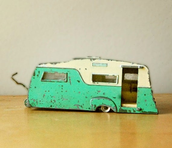 Rare Vintage Dinky Toy 4 Berth Caravan Camper Trailer in Mint Green and Cream.