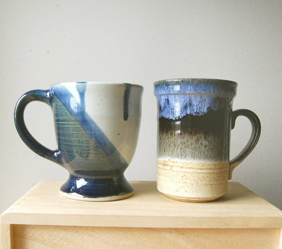 Pair of Blue Themed Handmade Organic Ceramic Tea Cups or Coffee Mugs with Eclectic Glaze.
