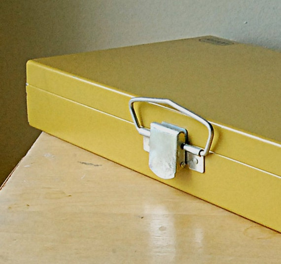 Vintage Kenco Industrial Metal Goldenrod Yellow Slide Box or Case with Handle and Clasp.
