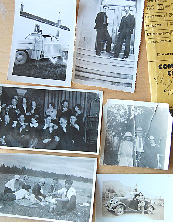 Fabulous Instant Vintage Collection Lot of Antique Black and White Photographs from the 1920s of People Having Fun in Canada.