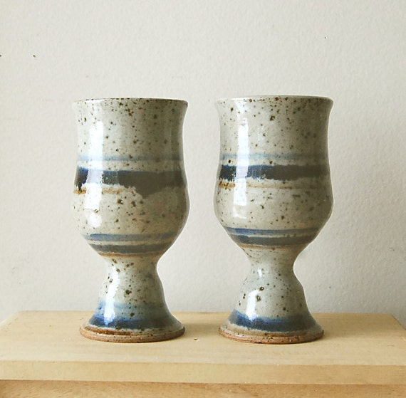 Vintage Handmade Organic Ceramic Small Goblets in Grey Blue with Stripes and Specks.