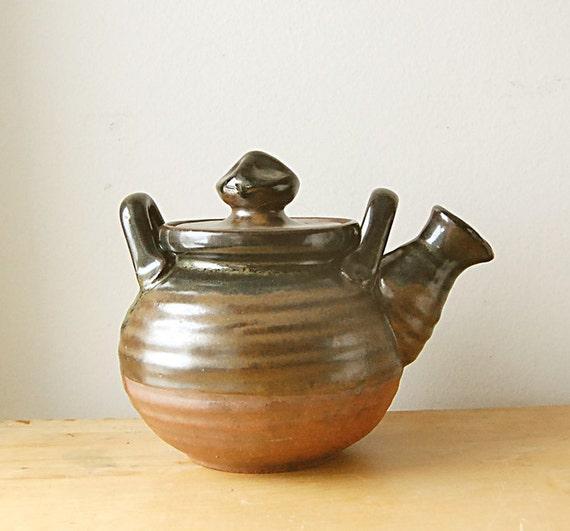 Handmade Wheelthrown Ceramic Brown Earthy Terra Cotta Teapot.