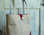 Upcycled LeAH tote. Everyday bag. Book bag. Burlap coffee sack. Navy blue and white stripes. Red corduroy.