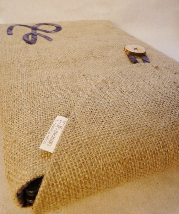 MADE TO ORDER. Upcycled laptop sleeve with matching battery pouch. Coffee burlap. Custom applique.