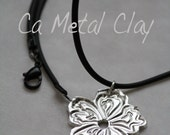 Fine Silver .999 Magnolia Metal Clay Pendant on a Black Rope Cord