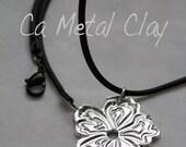 """FOR CUSTOMER """"THEA"""".....Magnolia Pendant Fine Silver .999 Magnolia Metal Clay Pendant on a Black Rope Cord"""