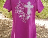 Raspberry Tshirt with silver cross and scrolls
