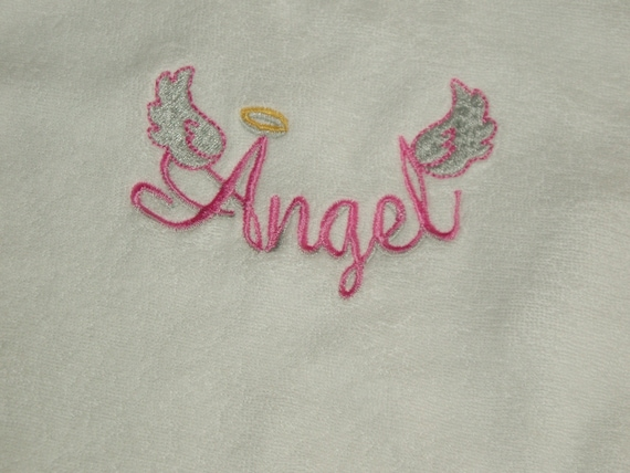 Infant handmade Embroidered  baby bib with saying- Angel