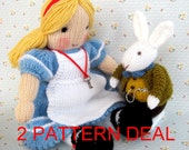 Alice and White Rabbit in Wonderland - 2 pattern deal - knitted toy dolls - PDF email knitting pattern