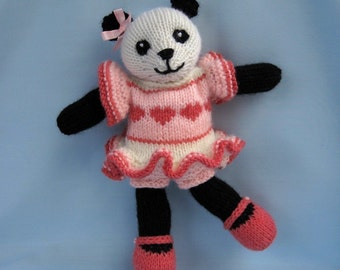 Cherry Blossom Panda knitting pattern - INSTANT DOWNLOAD
