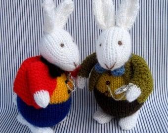 White Rabbit in Wonderland knitting pattern - INSTANT DOWNLOAD