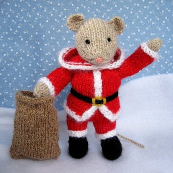 Knitting Pattern Toy Mice : SANTA MOUSE knitted toy doll or festive ornament PDF email
